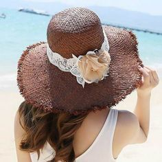 Coffee raw edge straw hat for women summer lace flower sun hats beach wear