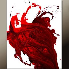 Red Abstract Art Canvas Painting 18x24 Contemporary by wostudios, $59.00