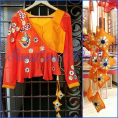 Beautiful  customized red and yellow Color blouse with motifs.Make to order Whatsapp for orders and booKings at +919669166763  03 June 2017