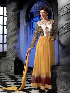 Beige and White Georgette Anarkali Suit with Embroidery Work