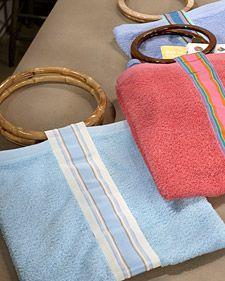 Hand-Towel Beach Bag, Martha Stewart. Materials: Towel, Preshrunk, washable ribbon, 2 circular handbag handles, Velcro.