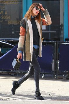 The Takeaway: A patchwork shearling takes skinnies and boots to interesting places.   - HarpersBAZAAR.com