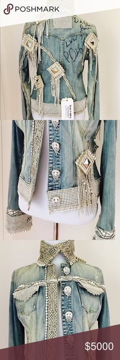 """GUESS? Jacket created by P. Diddy Sean Combs This BLINGING museum worthy GUESS? Denim Jacket was custom designed and autographed by P. Diddy and raised $7,500 at the Barbara Davis Carousel of Hope Fundraiser. It is a truly unique and one of a kind piece. This is your opportunity to own a piece of history created by one of the greatest rap artists of all time. Dedication reads: """"God Bless Luv & Peace. P.Diddy"""" Auction Tag reads: """"Item #608-L That's Entertainment Donor: GUESS?, Inc. Desc: P…"""