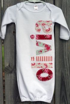 Easy appliqué project - personalized baby shower gift - onesie/sleep sack