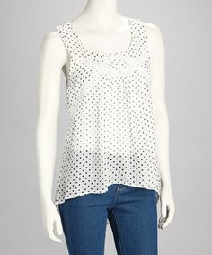 Another great find on #zulily! White & Black Polka Dot Tank #zulilyfinds