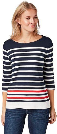 Sehr hübsch  Bekleidung, Damen, Tops, T-Shirts & Blusen, Langarmshirts Shirts & Tops, Toms, Shirt Bluse, Tom Tailor, Fashion, Striped Long Sleeve Tops, Summer, Clothing, Moda