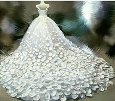 Royal luxury petals wedding dress couture cathedral train