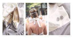 bridesmaids, gray and white, silver capped heels, diamond earrings, top bun, bow, fashion, attire, wedding day, Foundation For The Carolinas, Charlotte NC Wedding Photographer, Kristin Vining Photography