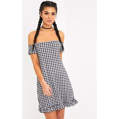 Isabeau Black Gingham Bardot Frill Hem Swing Dress ($15) ❤ liked on Polyvore featuring dresses, black, sleeved dresses, ruffle hem dress, frill hem dress, gingham print dress and tent dress