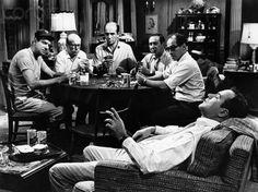 "Walter Matthau, John Fiedler, Herb Edelman, Larry Haines, David Sheiner and Jack Lemmon in ""The Odd Couple"" (Gene Saks, 1968)."