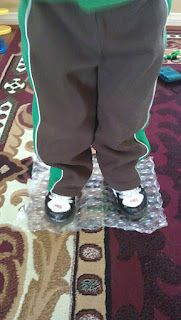 Bubble wrap is good for students who walk on their toes.
