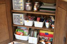 Make a family craft/school supply area in your home to keep the clutter at bay. Love this site.