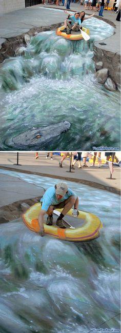 3D raft chalk pavement art by Julian Beever. http://visualfunhouse.com/chalk_drawings/3d-chalk-raft-julian-beevers-latest-masterpiece.html