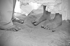 gotta do toes in the sand... just us two, us three and the wedding party..
