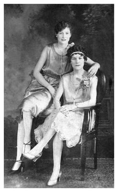 flappers in day dress. Socio economic changes that occurred during the First World War 1914-18 and became accepted, changed the role of women in a way that no amount of campaigning by a few liberated ladies could have achieved.  via fashion-era.com