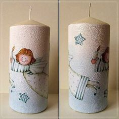 hania739: decoupage Decorative Painting Projects, Tole Decorative Paintings, Decoupage Paper, Wax Paper, Light Decorations, Christmas Decorations, Christmas Decoupage, Country Paintings, Candle Making
