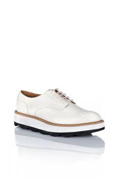 Pantofi NISSA Brogues din piele naturala Alb
