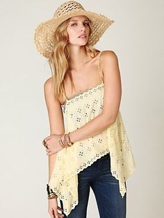 Free People FP New Romantics Tumbling Eyelets Cami at Free People Clothing Boutique - StyleSays