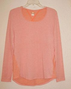 Lucy Size M Women's Athletic Shirt Orange Striped Long Sleeve Sports Yoga Camp  #Lucy #ShirtsTops