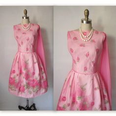 50's Rose Print Chiffon Dress // Vintage 1950's Pink Chiffon Full Cocktail Party Wedding Prom Dress S