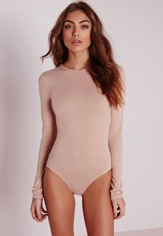 Jersey Long Sleeve Bodysuit Nude - Jersey - Bodysuit - Tops - Missguided