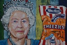 """#Repost @belleville_chamber  This amazing painting featuring """"Hawkins Cheezies"""" #madeinBelleville is part of Timothy Hoey's """"O Canada"""" exhibit and book which feature a collection of 150 spirited depictions of Canadiana. Check out the recent article by cbc.ca to learn more about this unique collection.  #hawkinscheezies #BellevilleON # Canadiana #iconic #BayofQuinte"""