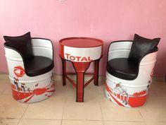 Barrels Garage Furniture, Barrel Furniture, Barrel Chair, Furniture Projects, Barris, Oil Barrel, Oil Drum, Horseshoe Crafts, Coffee Table Wayfair