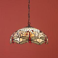 Lampada stile Tiffany a Sospensione con Libellule Rosse