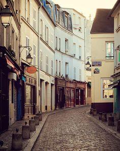 Rue Norvins, Montmartre, Paris Photography, Morning, Spring, Pastel, Blue, Yellow, Cobblestone Street