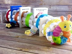 Diaper Cake - Book Worm Caterpillar, Primary Color Book Theme Baby Shower Diaper Cake Centerpiece