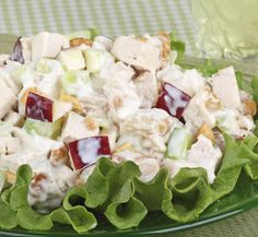 Patio Chicken Salad (low fat!)  2 cups cooked, skinless, chicken breast chopped coarsely  1 cup shredded carrots  8 oz. light vanilla yogurt  ½ c unsweetened dried fruit (raisins, apricots chopped or cranberries)  ¼ cup slice almonds  1-2 teaspoons Dijon mustard, to taste  ½ teaspoon dried dill    Stir all ingredients together. Chill.    (1/2 cup serving has 3 grams fat, 14 grams protein, 12 grams carbohydrates)