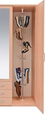 Shoe Storage Organiser with Telescopic Pole - Chrome Plated. | Homebase