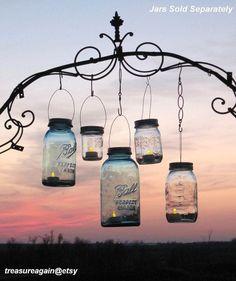 Mason Jar Lanterns 15 DIY Hanging Mason Jar Lids, Do It Yourself Wedding Lights, No Mason Jars via Etsy