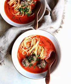 Spaghetti & Meatballs meets Tomato Soup. Talk about a triple threat . #thejudylab
