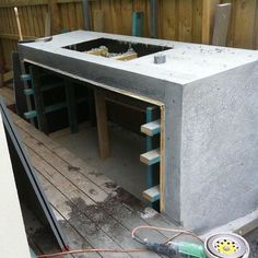 In situ concrete BBQ surround starting to take shape Elwood project #shapedbyform #formlandscaping #FORM