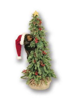 "Christmas Tree with Climbing Black Santa Bear Display 40"""