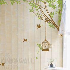 Branches Corner with Decorative Bird Cage - vinyl sticker wall decoration