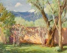 "Joseph Henry Sharp, ""AN OLD GARDEN IN TAOS (EARLY SPRING) AND TAOS MOUNTAINS"", oil on canvas"