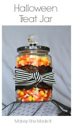 DIY Halloween Treat Jar with candy corn