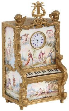 Antique Desk, Desk Clock, Silver Enamel, Spaces, Antiques, Decor, Clock Table, Antiquities, Antique Writing Desk