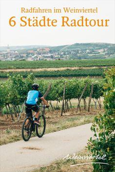 Die rund 100 Kilometer lange Radtour verbindet die sechs schönsten Städte im Grenzgebiet zwischen Retz und Prag miteinander. Wie für die vom Wein geprägte Region üblich, führt dich diese Radroute ausgehend von Retz, vorbei an saftigen Weingärten nach Schrattenthal, der kleinsten Weinstadt Österreichs über Pulkau bis in die Grenzstadt Hardegg. Von Wäldern und der Thaya umgeben geht es für dich per Rad nach Tschechien, wo es zwei weitere Städte zu entdecken gilt. © Weinviertel Tourismus… Radler, Vineyard, Bike, Outdoor, Czech Republic, Prague, Tourism, Bicycling, Explore
