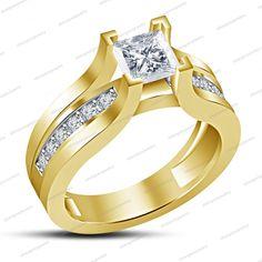 14k Gold Finish 925 Silver White Princess Sim Diamond Ladies Engagement Ring #Unbranded #WeddingEngagementRing