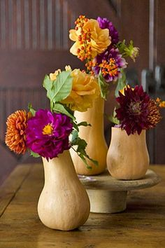 Colorful flowers in a gourd vase! Easy and festive!