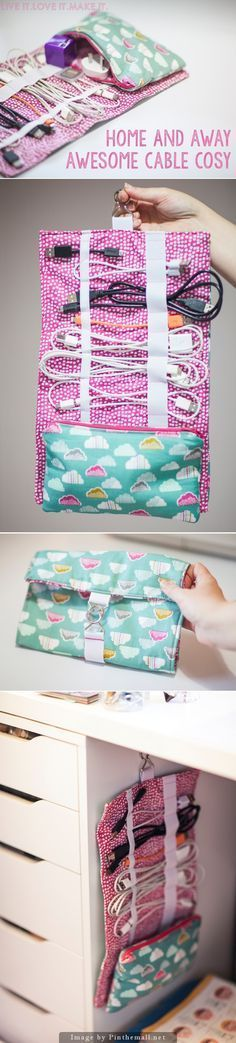 """""""Cable Cord Cozy - Clear tutorial including a free PDF download for how to make this useful bag for your tech cables at home and away!"""" enjoy from #KnittingGuru ** http://www.KnittingGuru.etsy.com"""