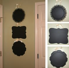 Clever! Thrift store trays repurposed with chalkboard paint.