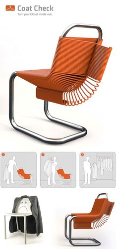 Fun and functional chair design: the Coat Check Chair by Joey Zeledón - Decoist