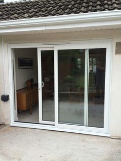 Launa Windows - Brislington, Bristol White PVC-u Patio, Sliding Door with clear A-rated glass and matching white handles. Aluminium Sliding Doors, Sliding Windows, Sliding Glass Door, Windows And Doors, Design My Kitchen, Usa Living, Door Gate Design, Patio Doors, My Dream Home
