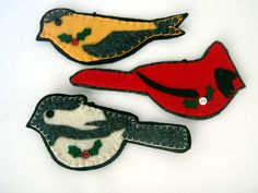 Instant Download PDF Pattern Felt Wild Bird Ornaments Hand Sewing and Fusing 1202