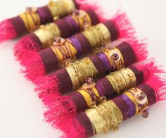 Fabric and Fibre Embroidered Textile Art Beads in Gold, Pink & Purple $12 from 'NellsEmbroidery' on Etsy<3AMAZING<3