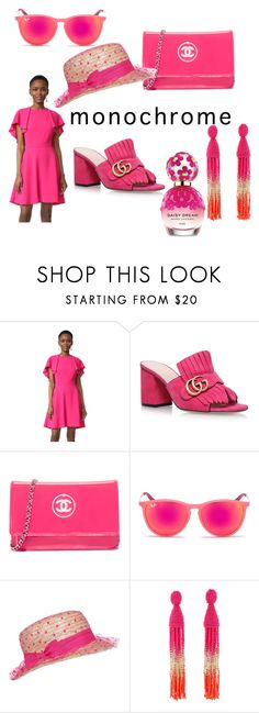 """Pink Prowess"" by shanika-feagins ❤ liked on Polyvore featuring Monique Lhuillier, Gucci, Ray-Ban, Oscar de la Renta and Marc Jacobs"